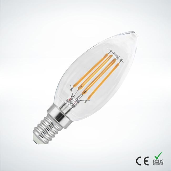 Λάμπα Led Κερί Filament C35 4W 3000Κ Ε14 000087 | Ηλεκτρολογικά